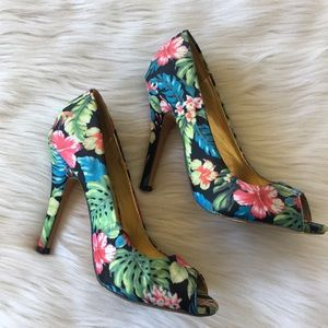 Floral Print Open toed High Heels
